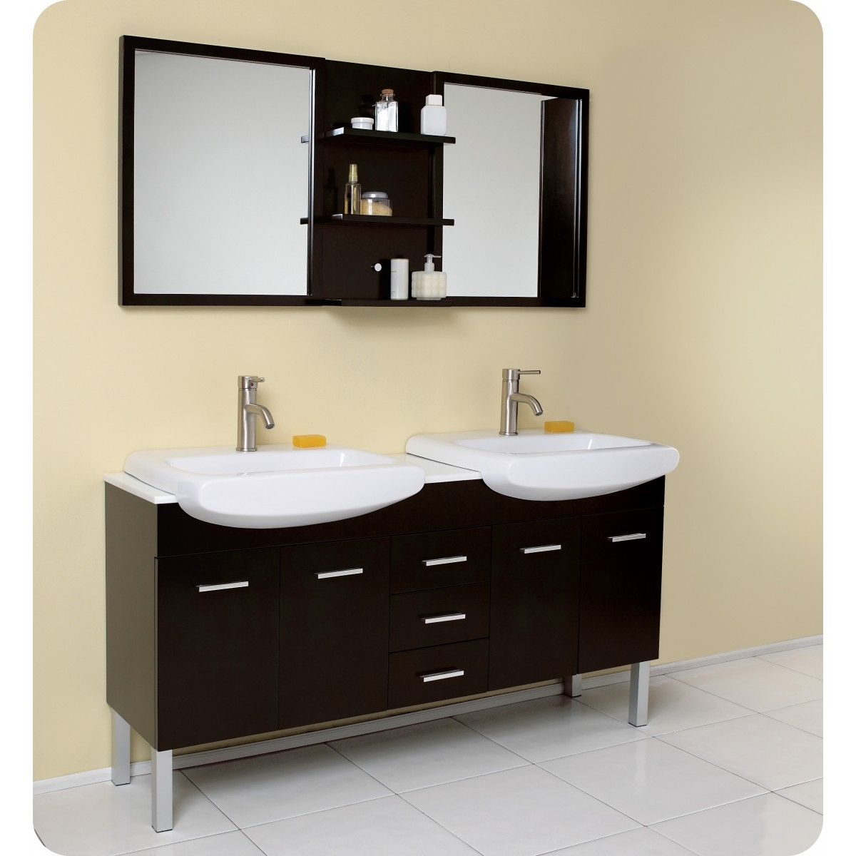 Large Espresso Bathroom Mirror