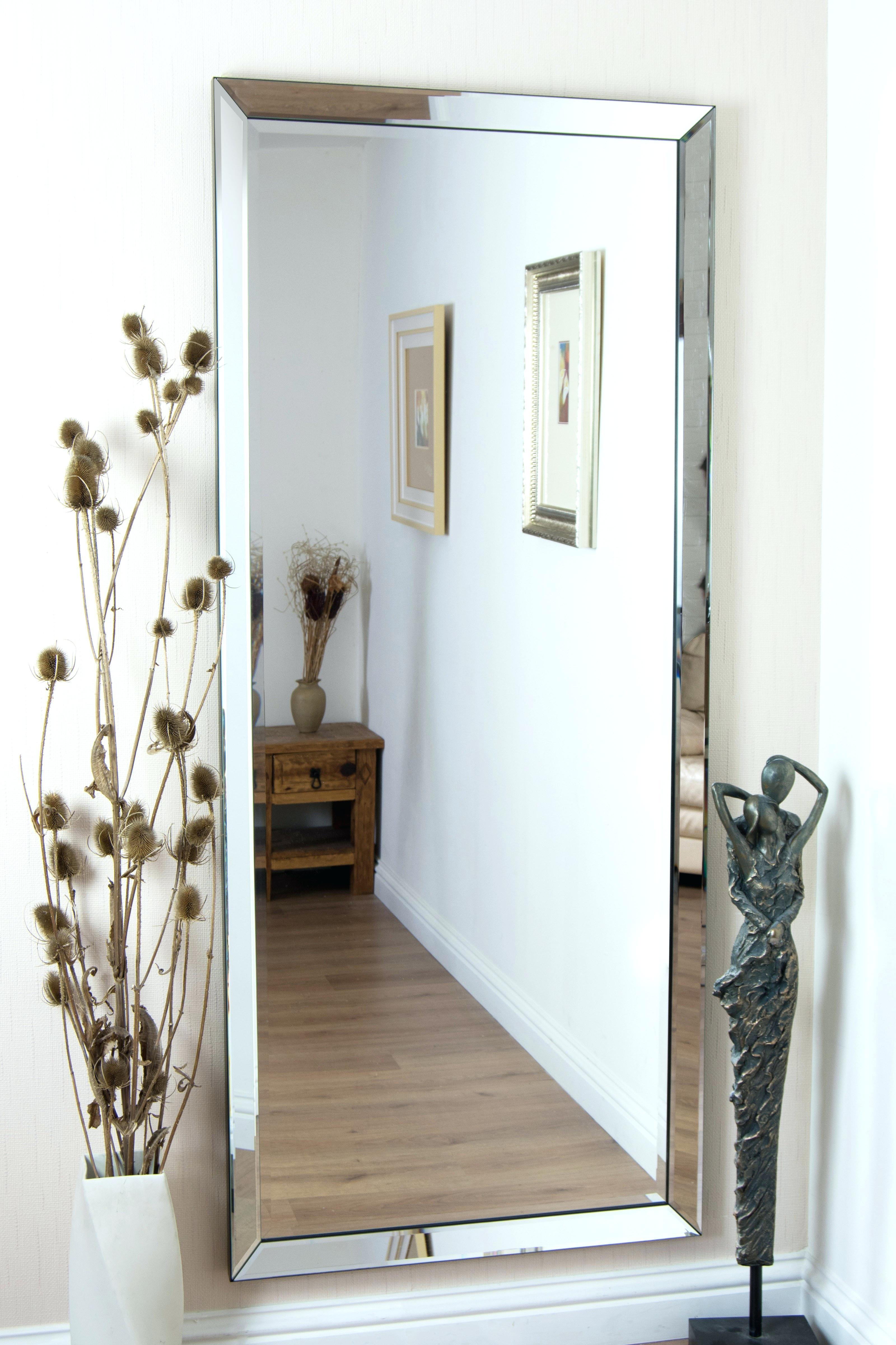 Large Frameless Rectangular Wall Mirror