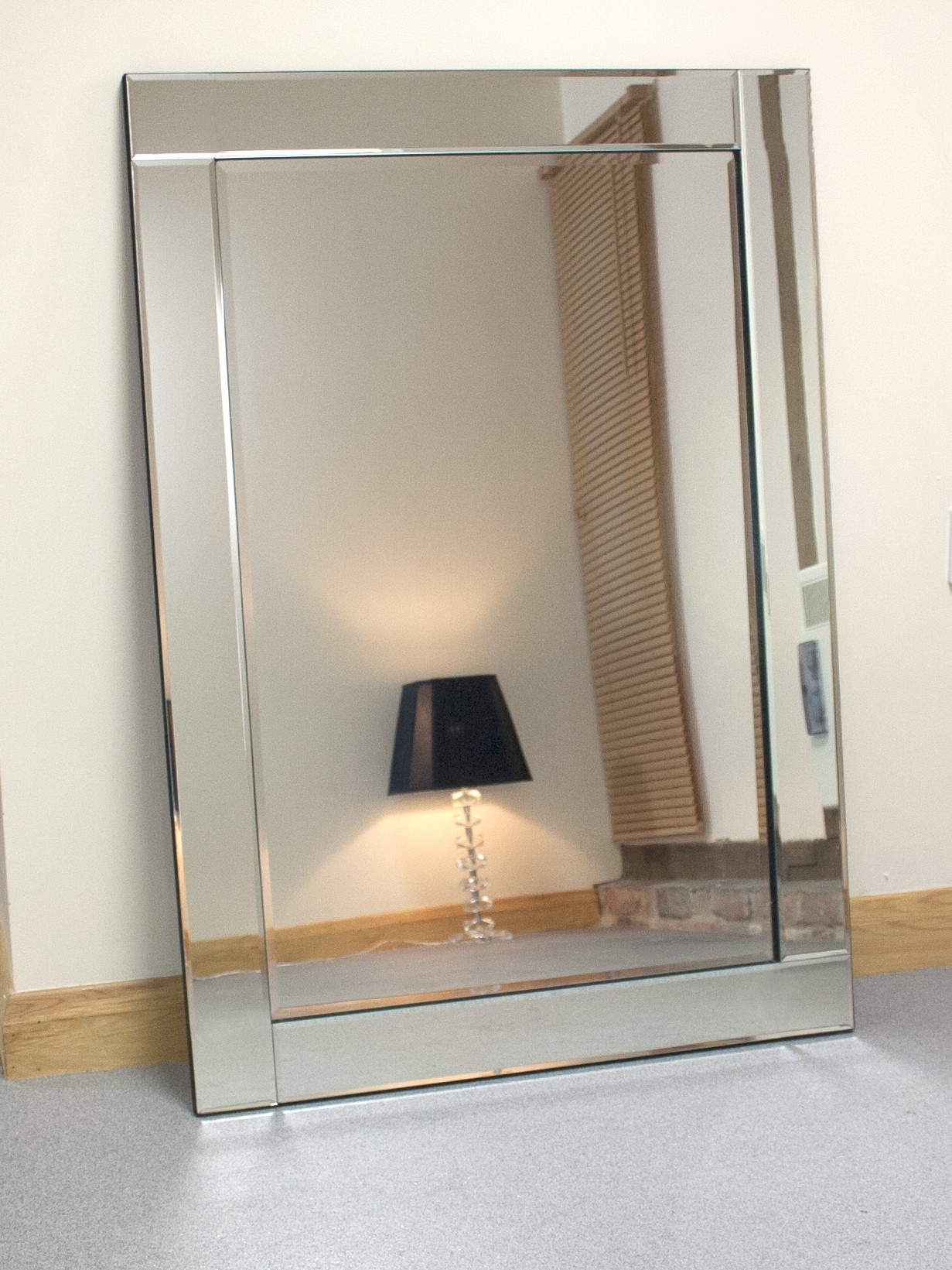Large Glass Black Bevelled Wall Mirror