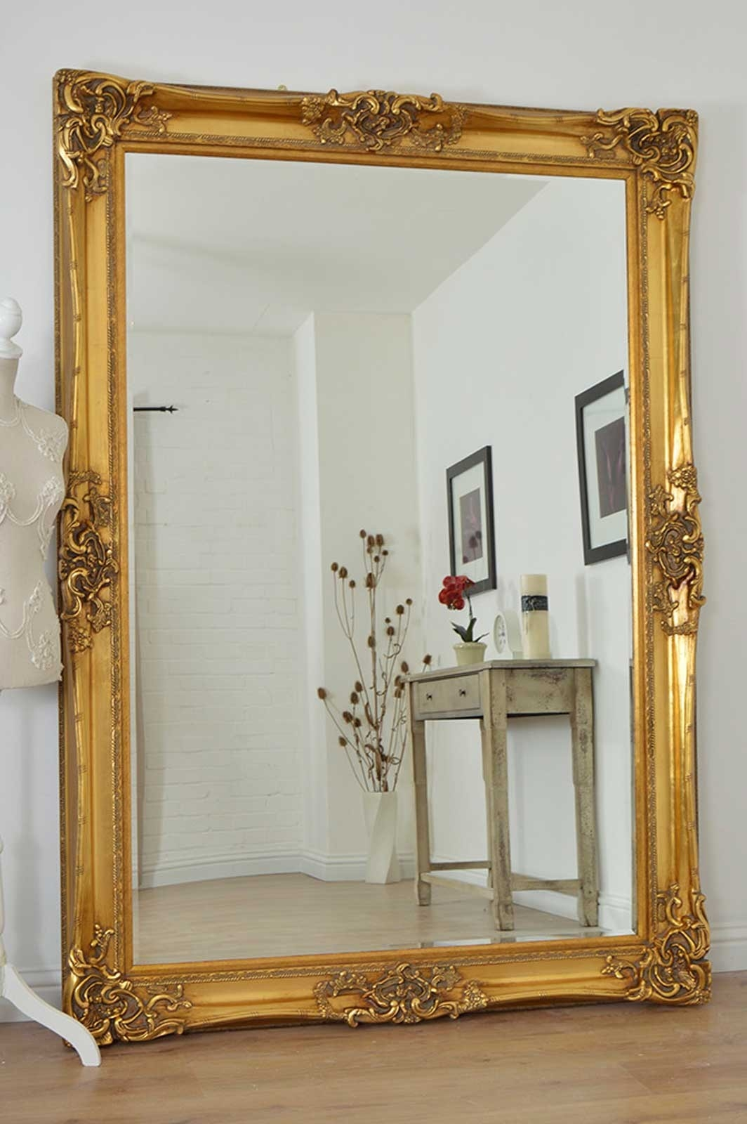 Large Gold Ornate Wall Mirror Large Gold Ornate Wall Mirror large gold very ornate antique design wall mirror 7ft x 5ft 213cm 1064 X 1600