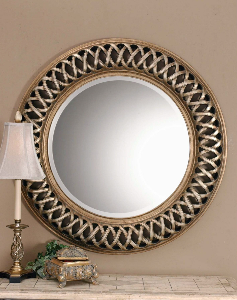 Large Round Gold Wall Mirror