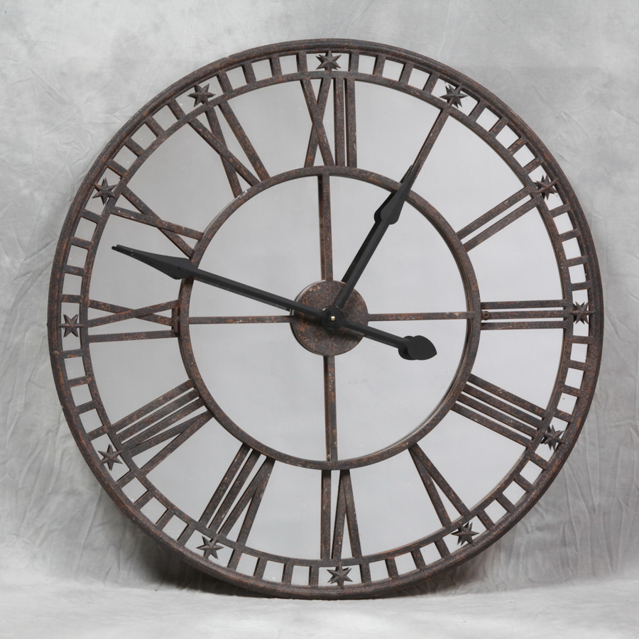 Large Round Mirror Wall Clock