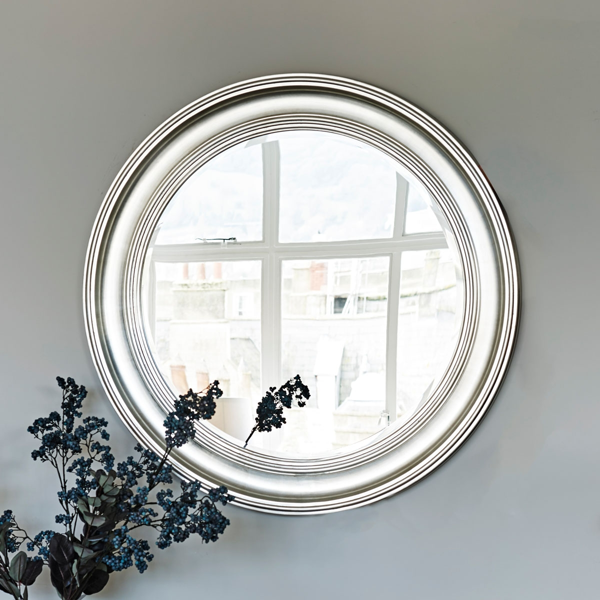 Large Silver Round Wall Mirror