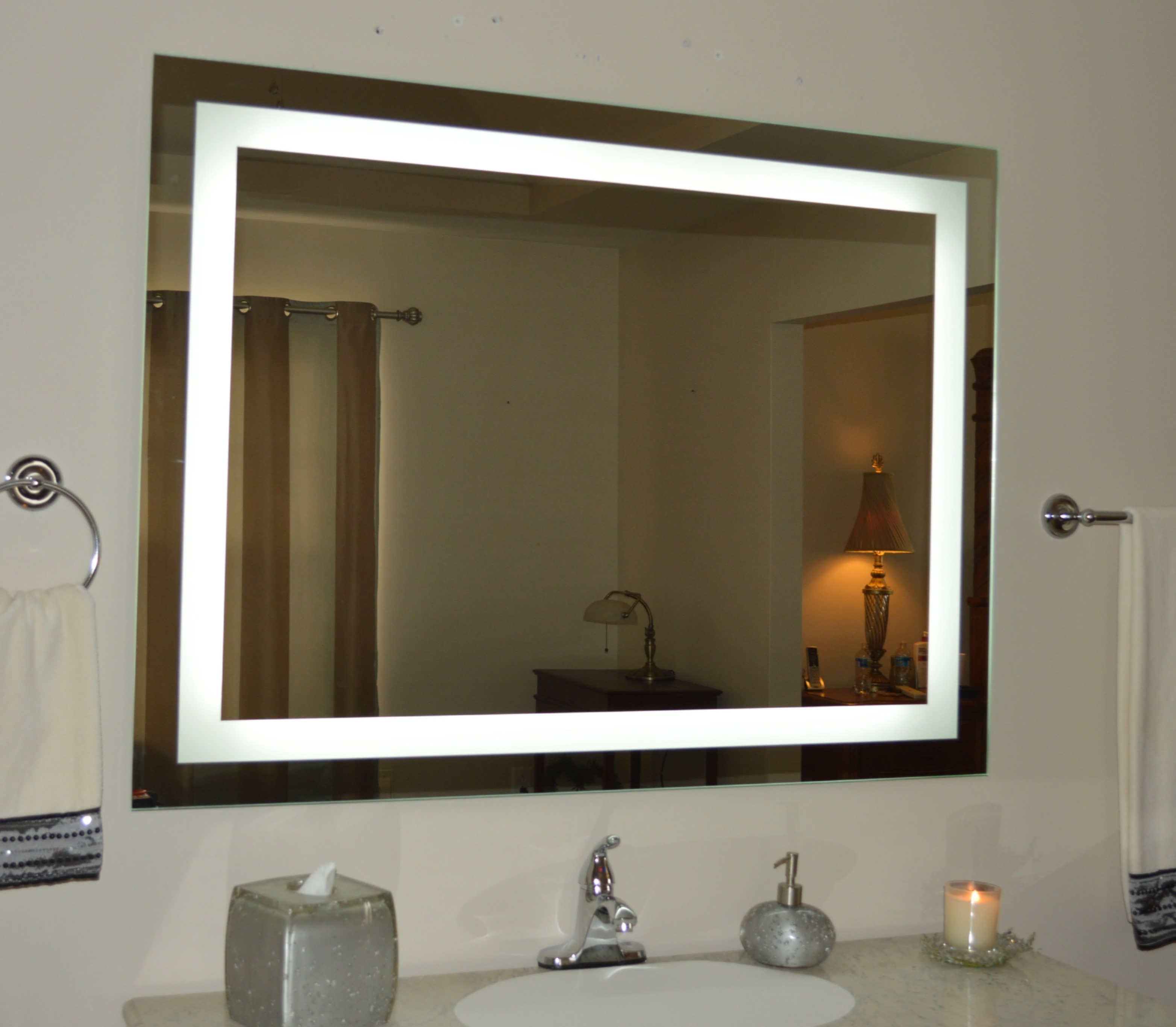 Permalink to Large Wall Mounted Lighted Makeup Mirror