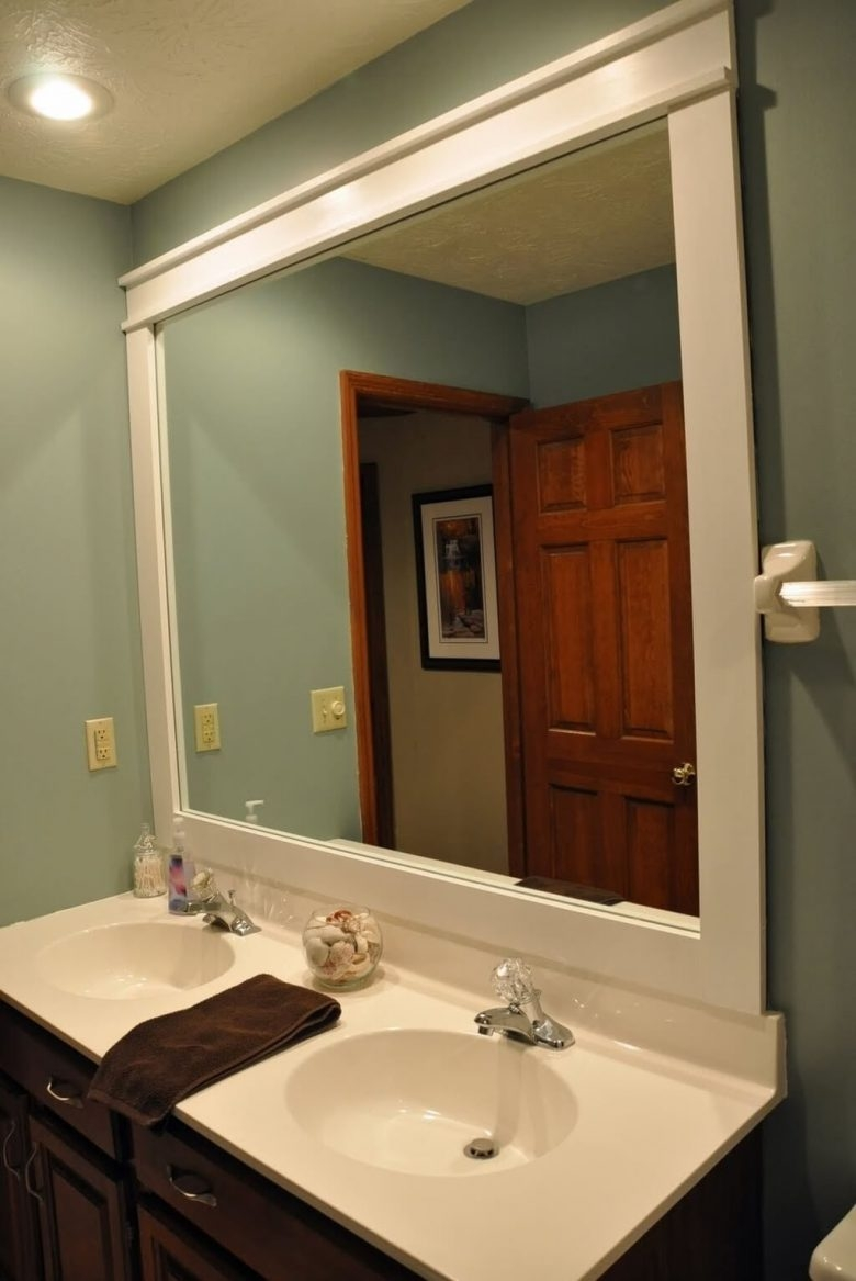 Large White Frame Bathroom Mirror