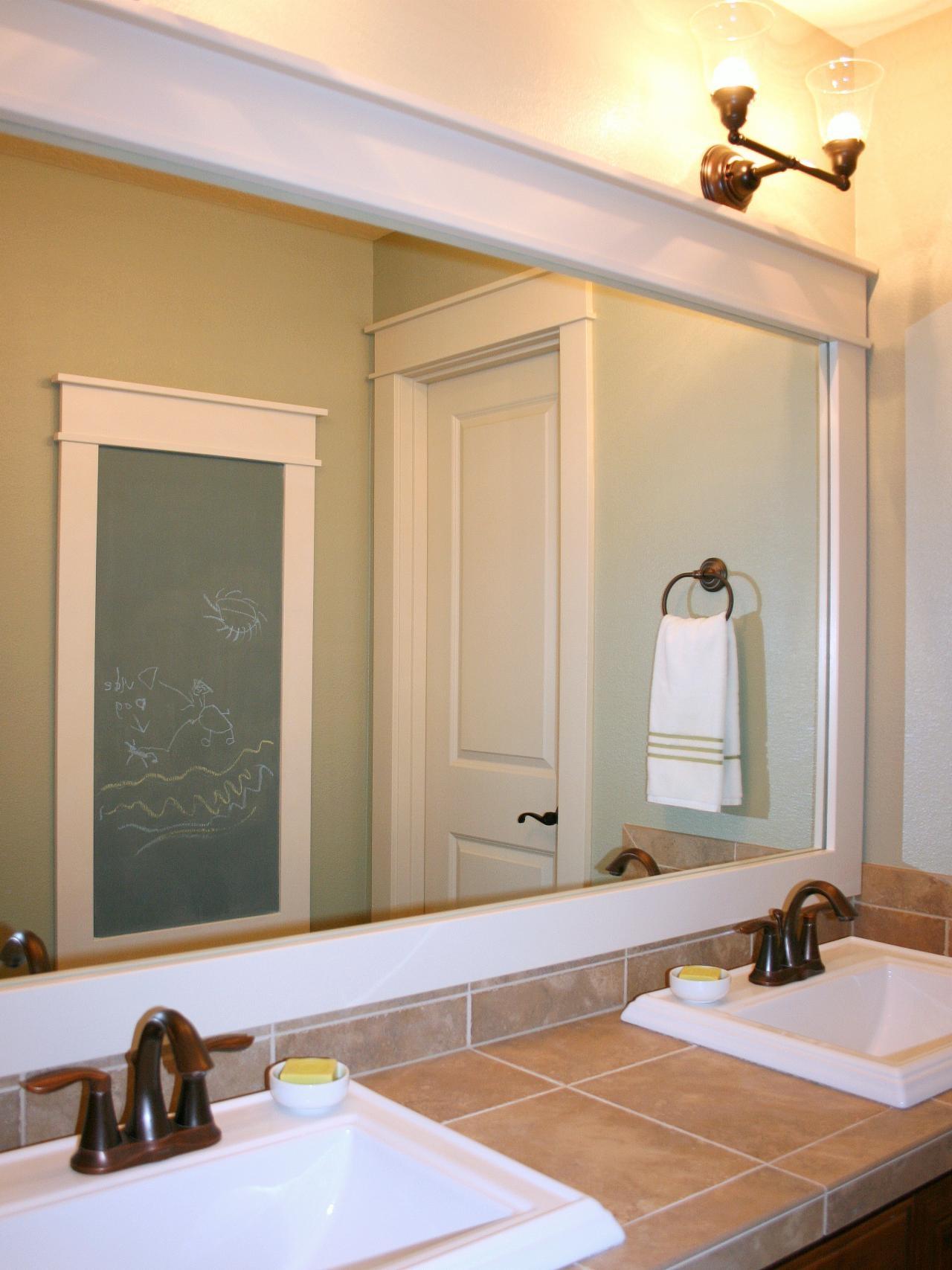 Large White Framed Mirror For Bathroom