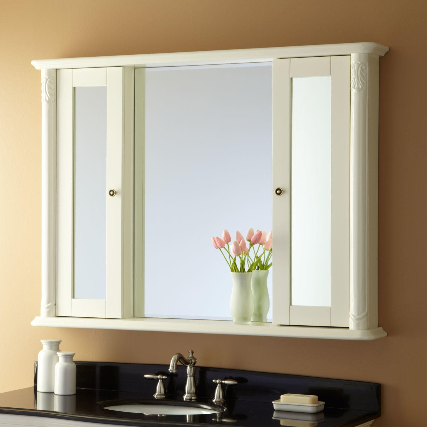 Large White Mirrored Bathroom Cabinet