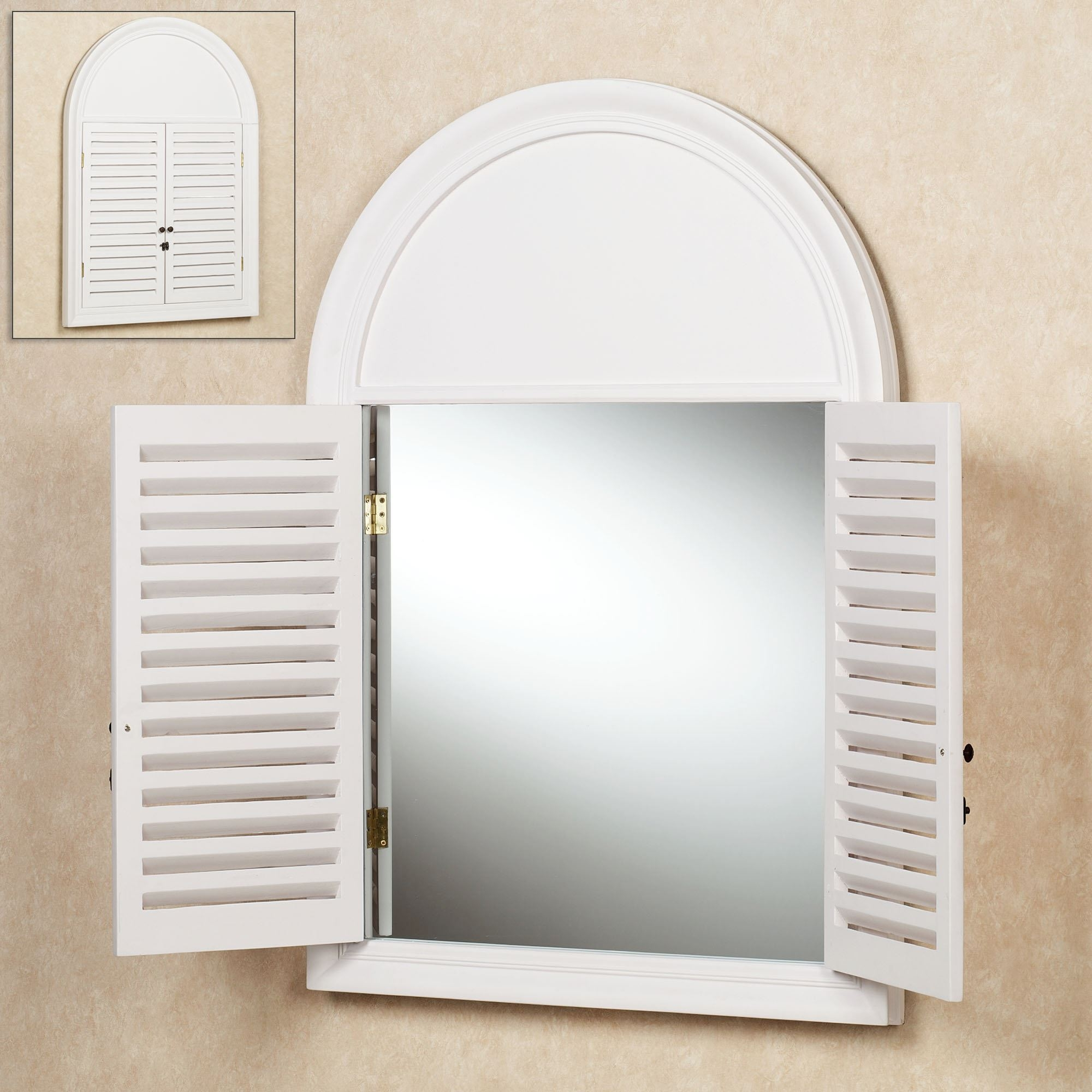 Large Wrought Iron Wall Mirror Window With Shutter