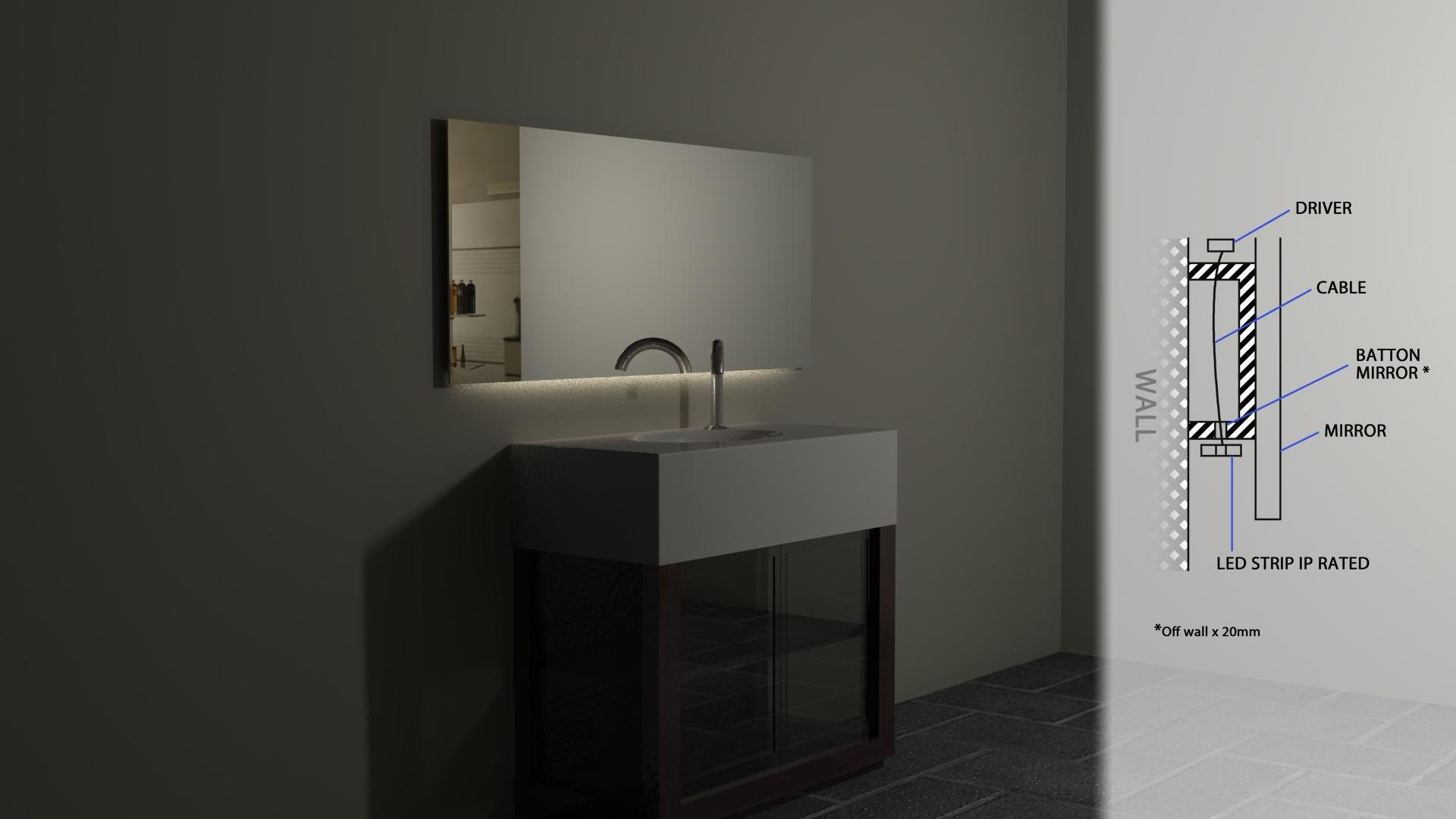 Led Lights Behind Bathroom Mirror