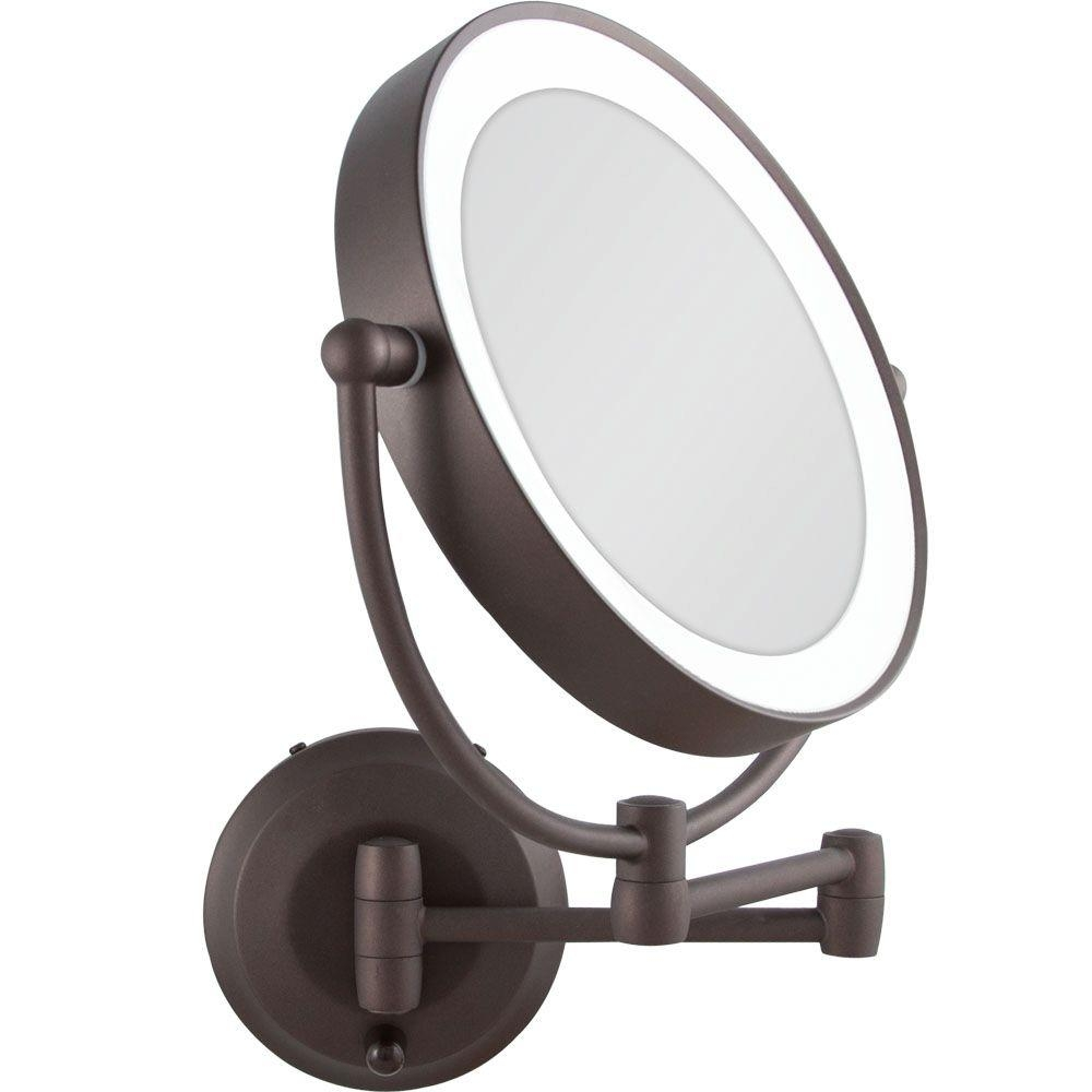 Lighted Makeup Mirror Wall Mounted Bronze
