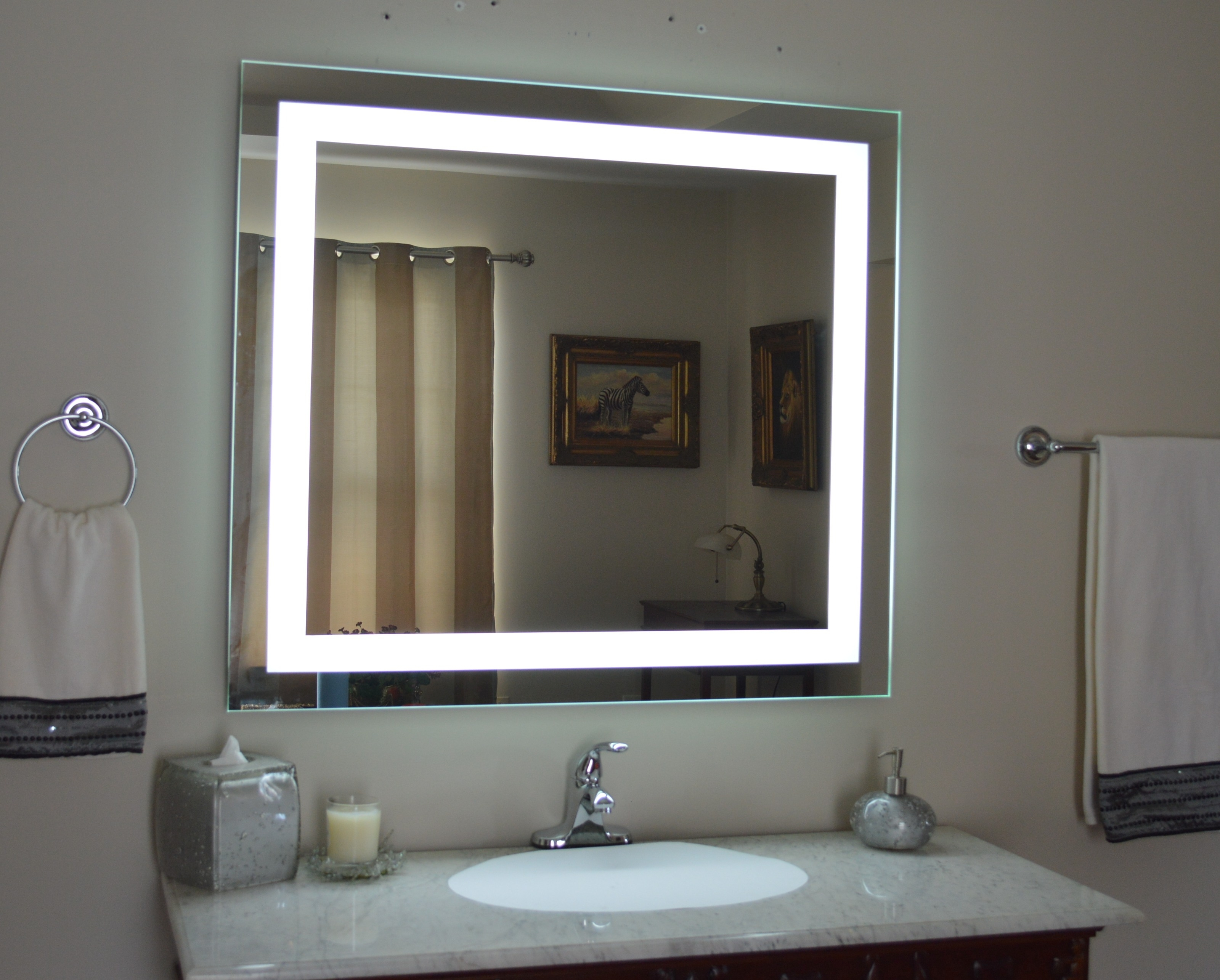 Lighted Wall Mirror For Makeup