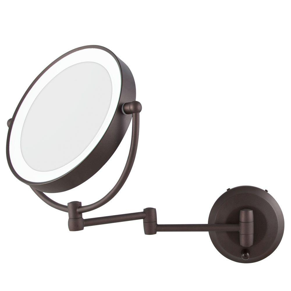 Permalink to Lighted Wall Mount Makeup Mirror Bronze