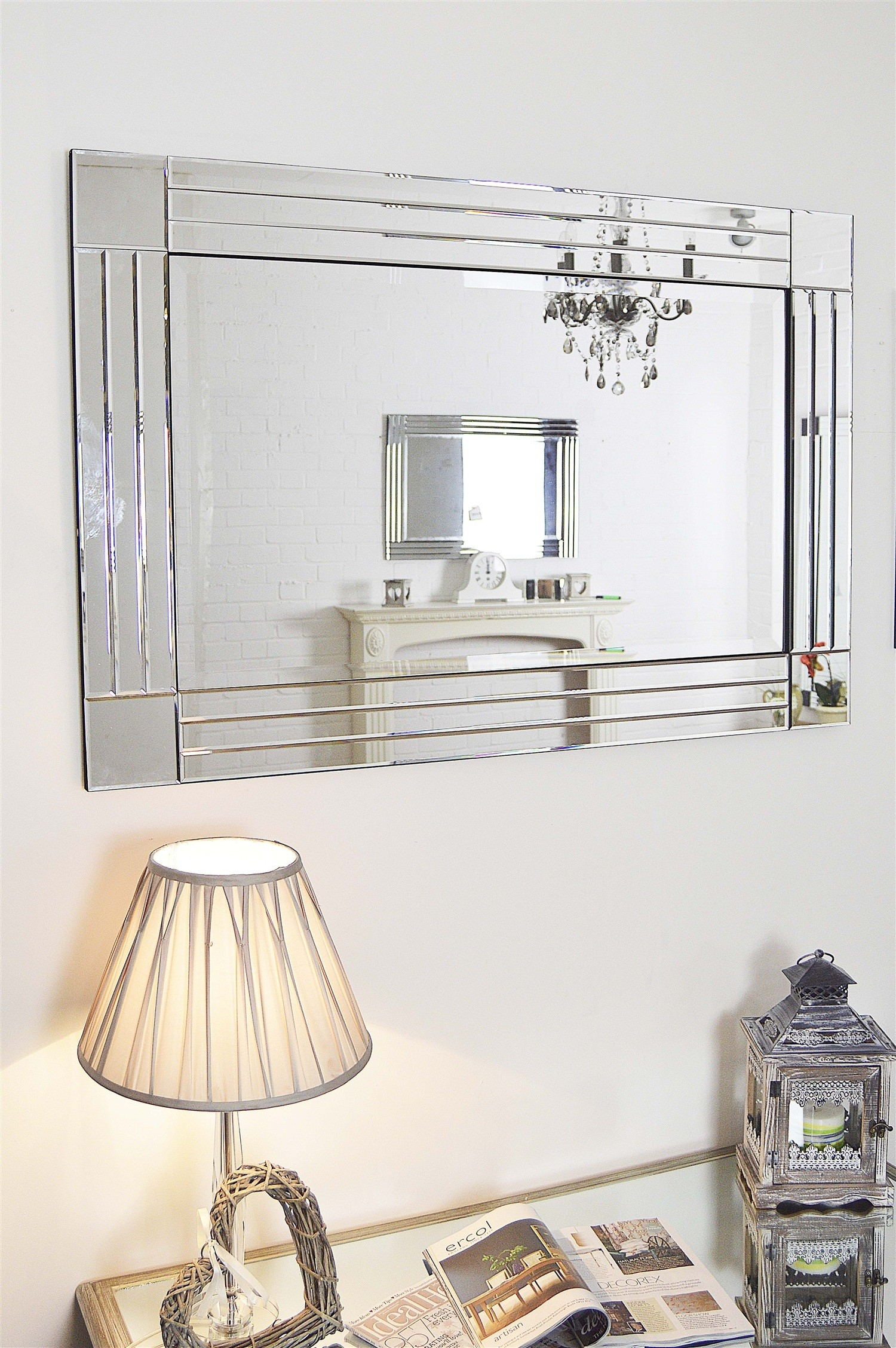 Living Silver Large Glass Bevelled Wall Mirror