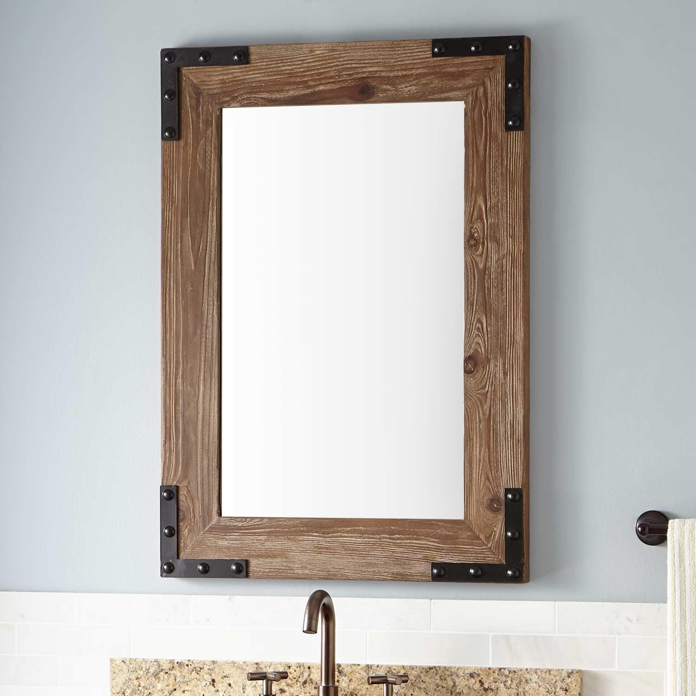 Maple Wood Framed Bathroom Mirrors