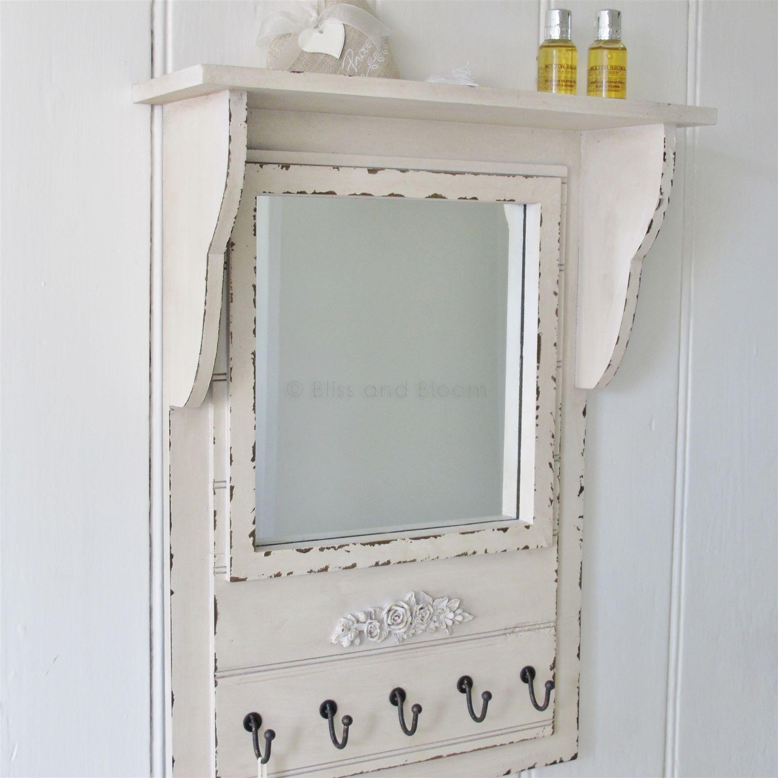 Mirror Wall Shelf With Hooks