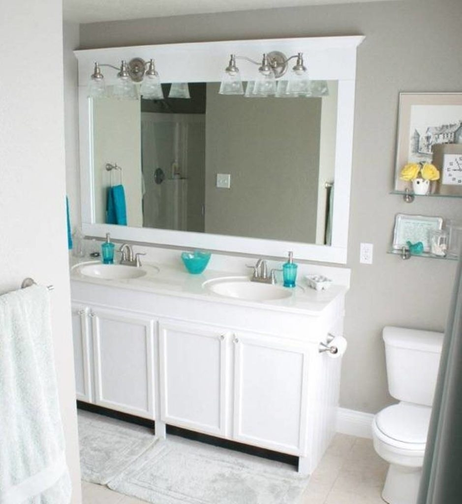 Mirror White Frame Bathroom