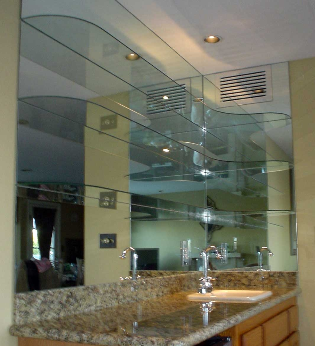 Mirrored Wall With Glass Shelves