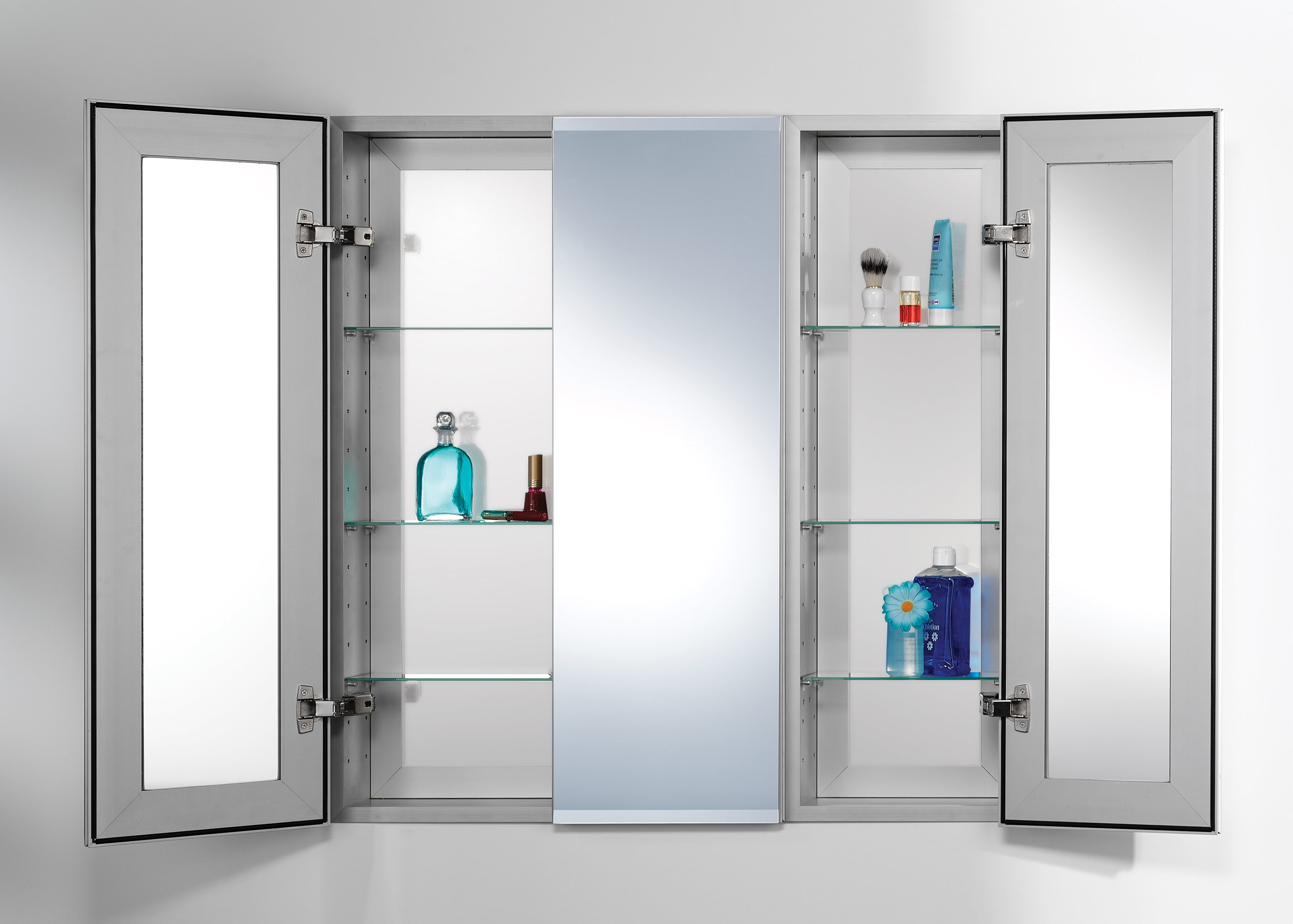 Modern Mirrored Bathroom Cabinet With 3 Shelves