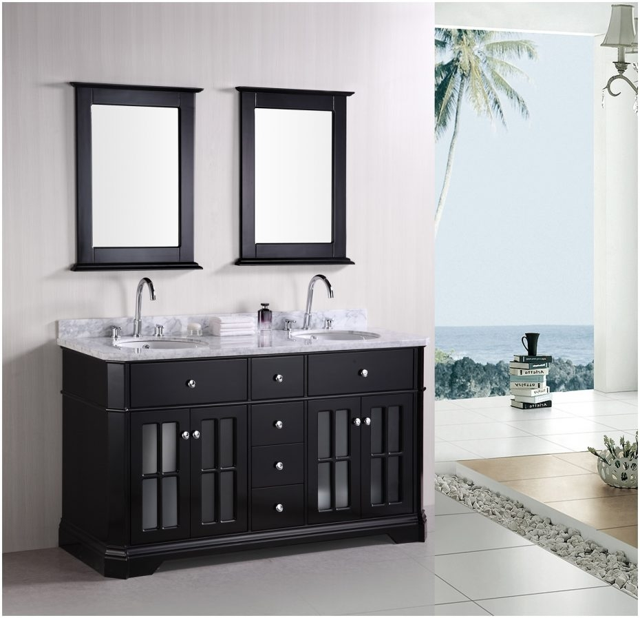 Monica Espresso Bathroom Vanity Set With Mirror And Glass Sink