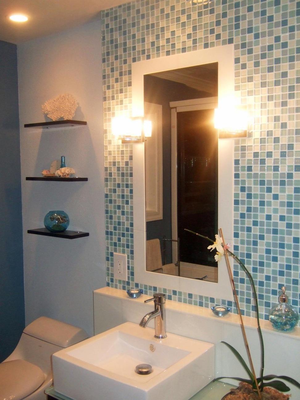 Mosaic Tile Behind Bathroom Mirror Bathroom Mirrors And Wall Mirrors