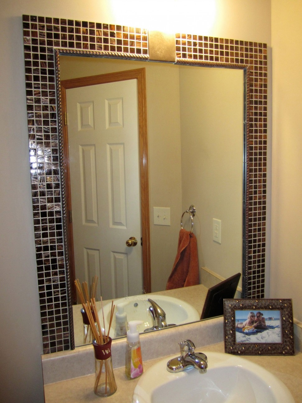 Mosaic Tile Framed Bathroom Mirror