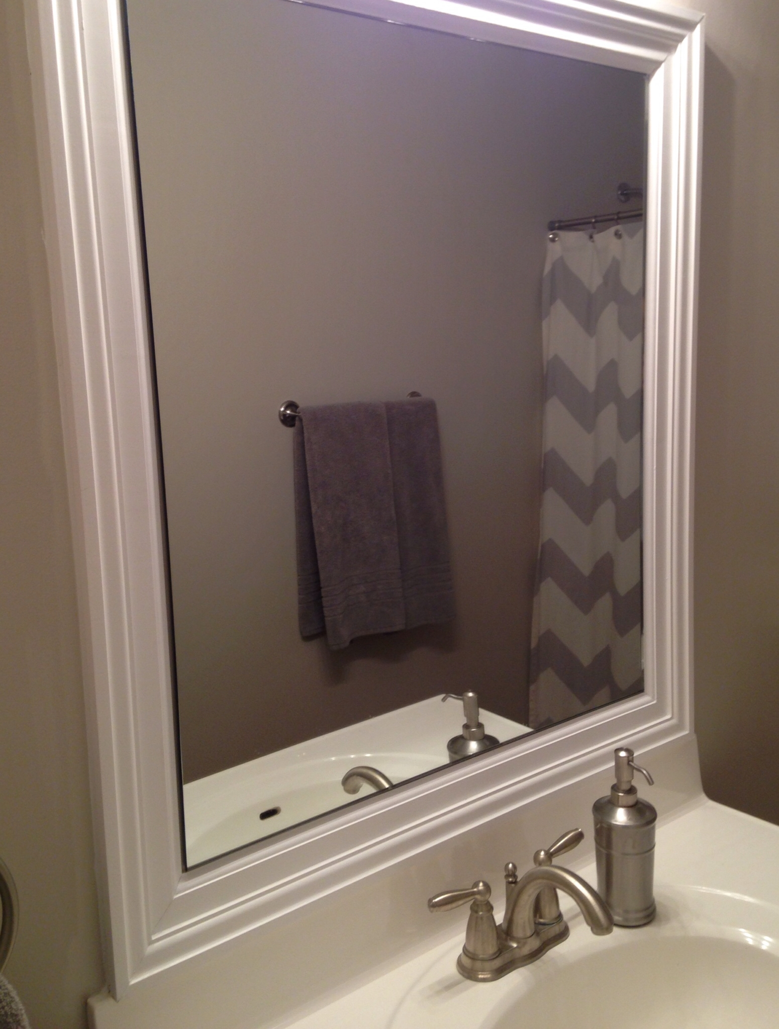 Nickel Framed Bathroom Mirror