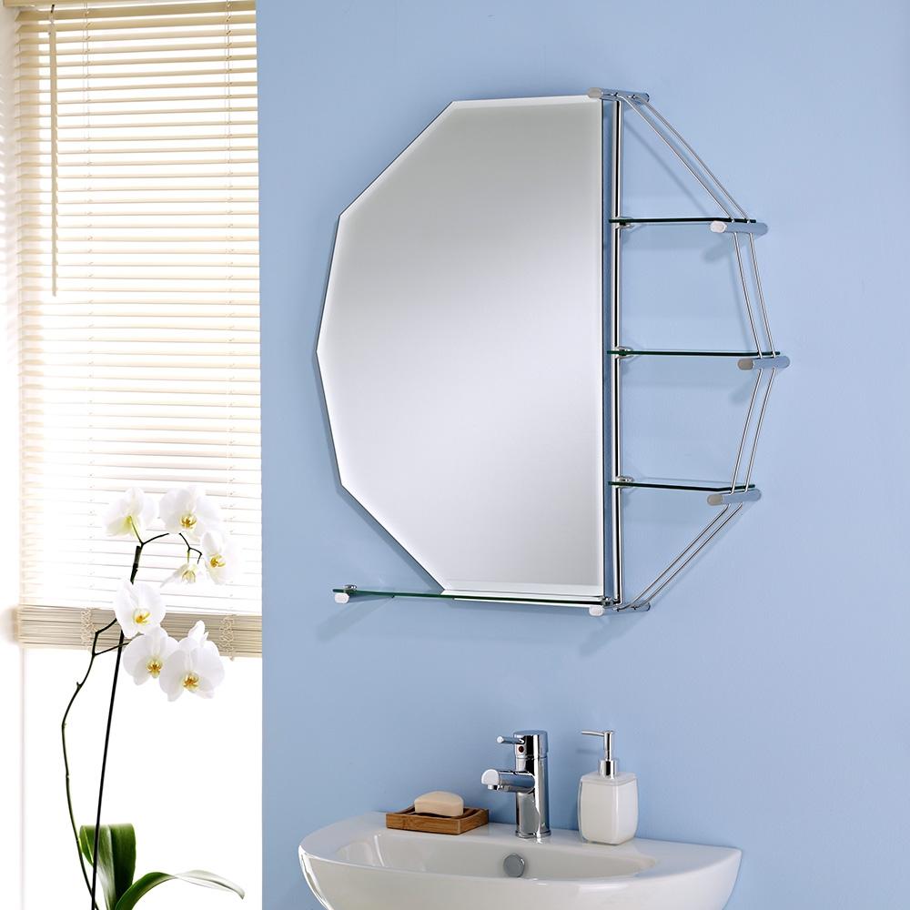 Octagon Bathroom Mirror With Shelves