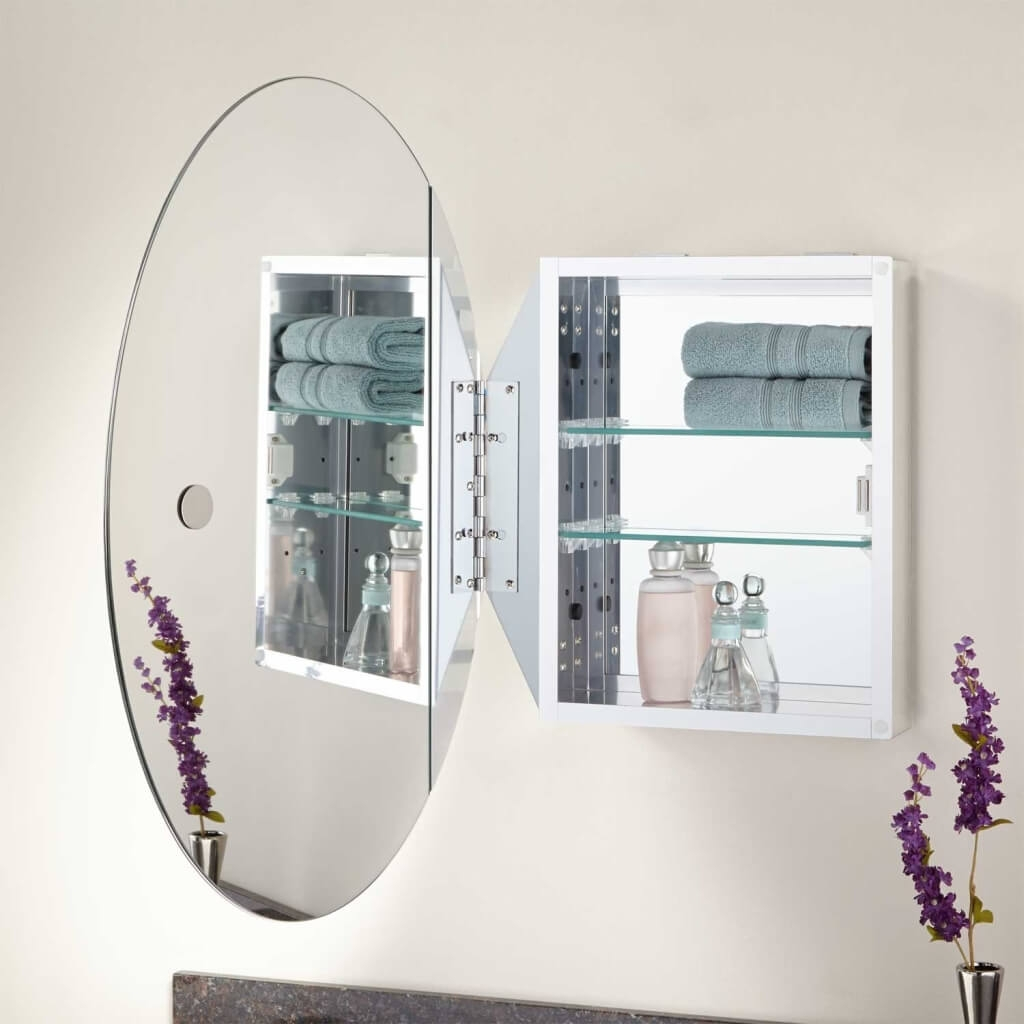 Oval Bathroom Mirror Cabinet