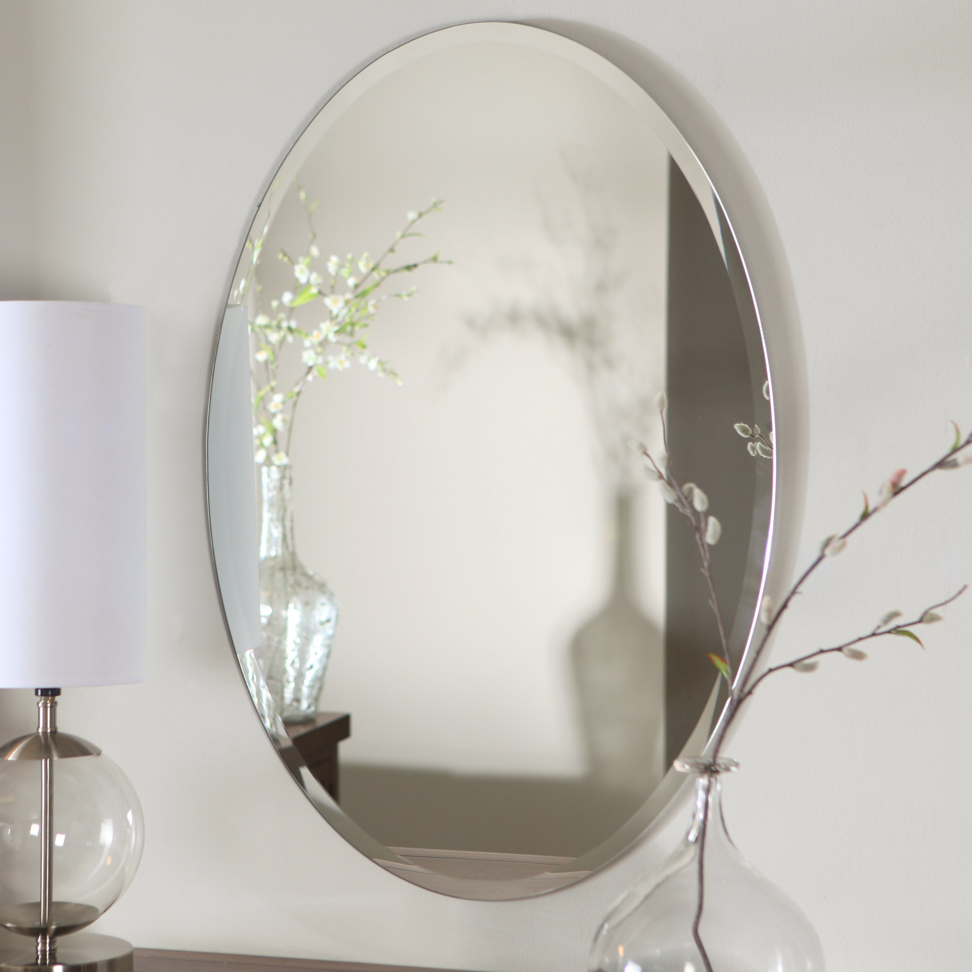 Oval Beveled Mirrors For Bathroom