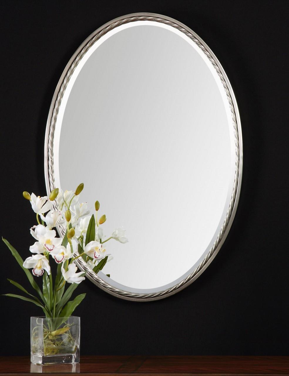 Oval Brushed Nickel Mirror For Bathroom