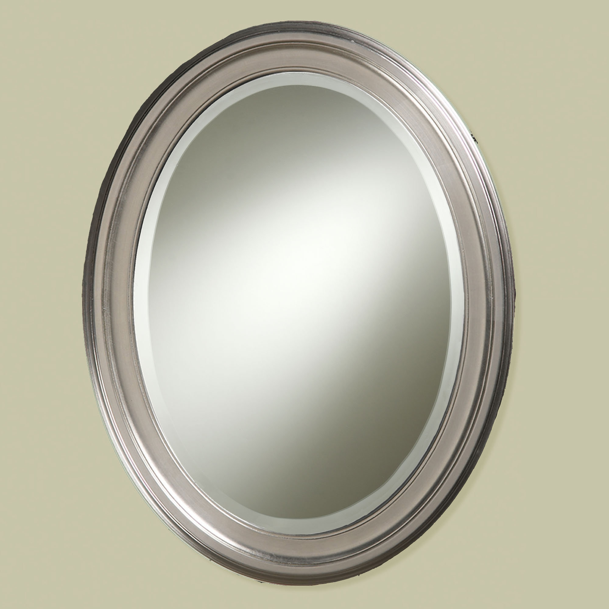 Oval Brushed Nickel Wall Mirror