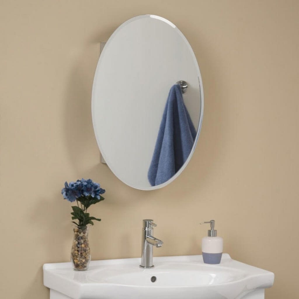 Oval Mirrored Medicine Cabinet Bathroom