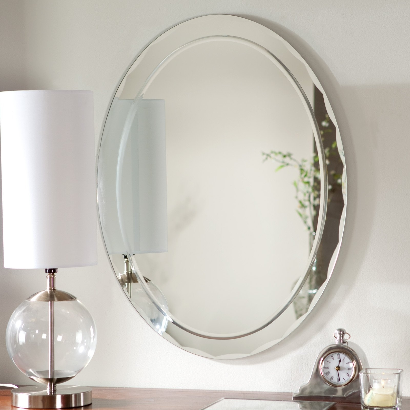 Oval Wall Mirror Beveled