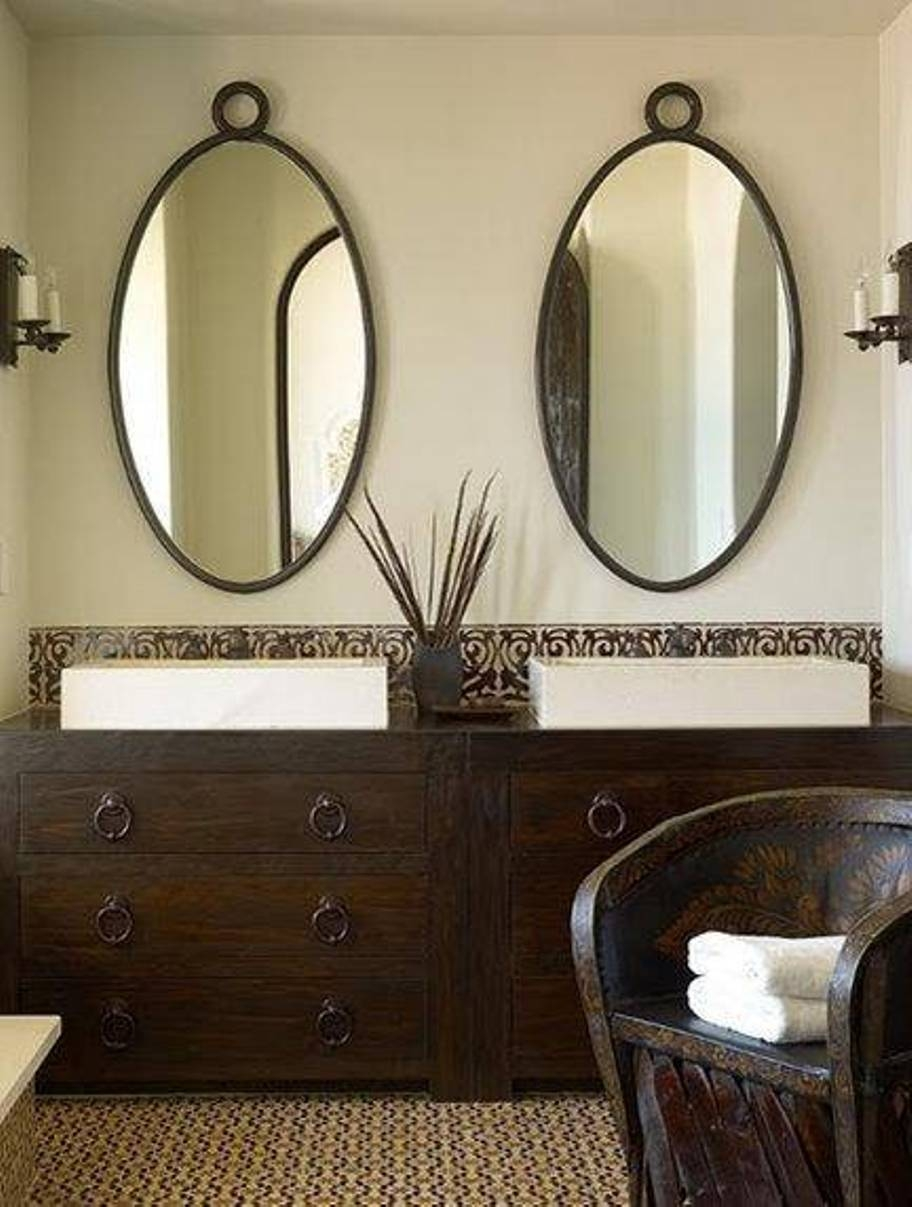 Oval Wood Framed Bathroom Mirrors