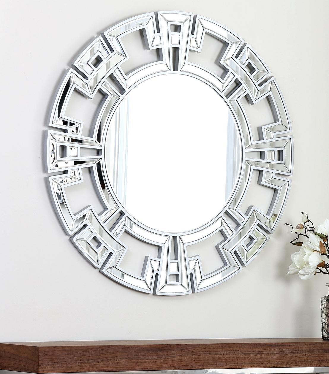 Pierre Silver Round Wall Mirror