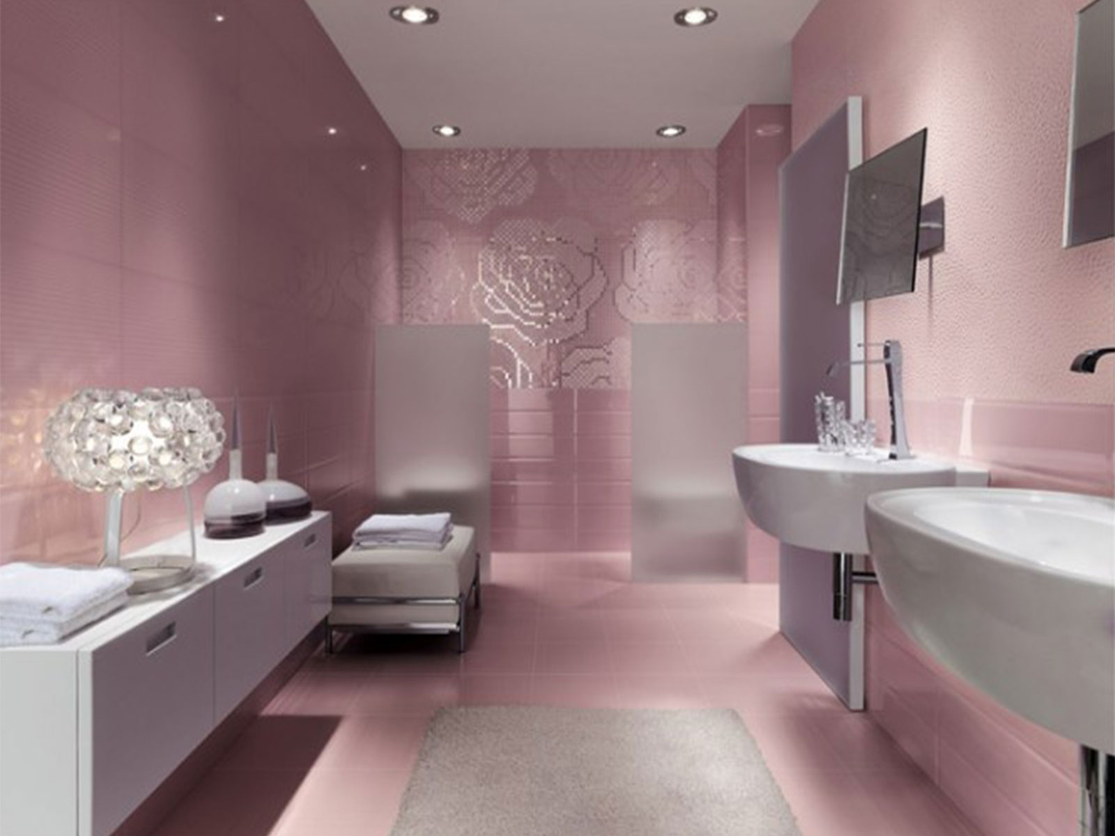 Pink Bathroom Wall Mirrors