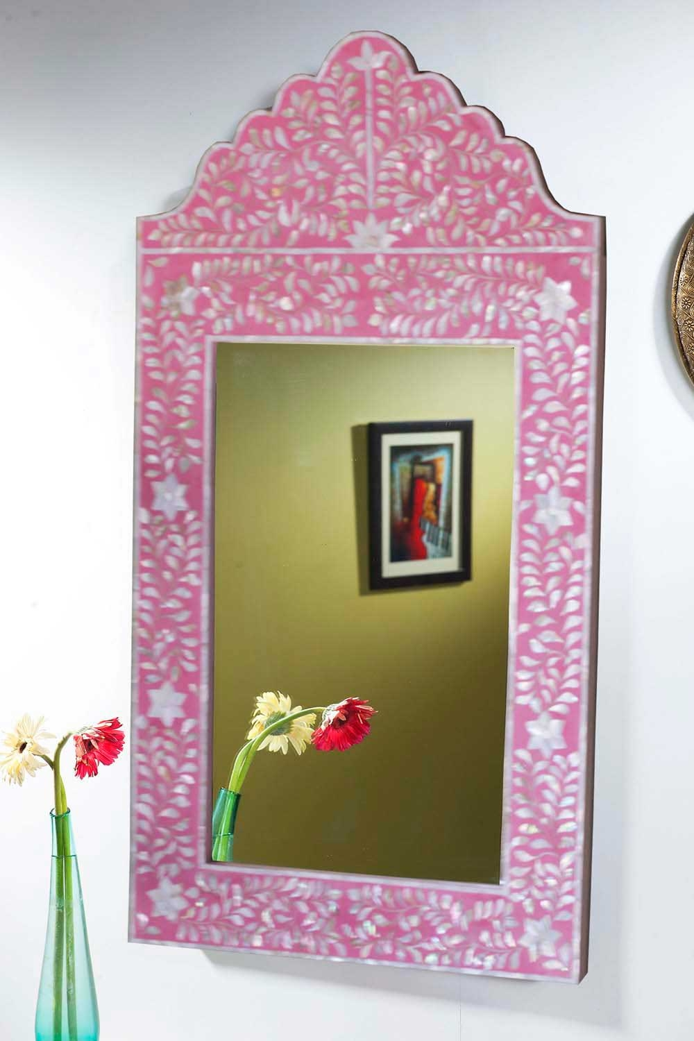Pink Framed Wall Mirror
