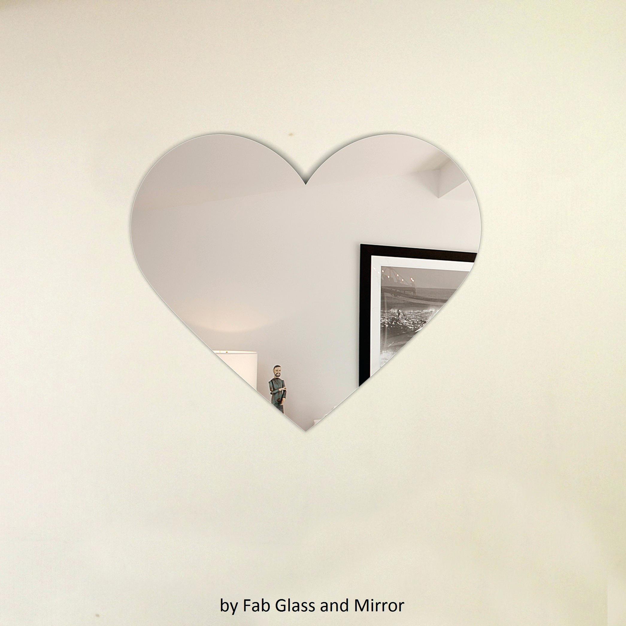 Pink Rose Heart Shaped Metal Wall Mirror