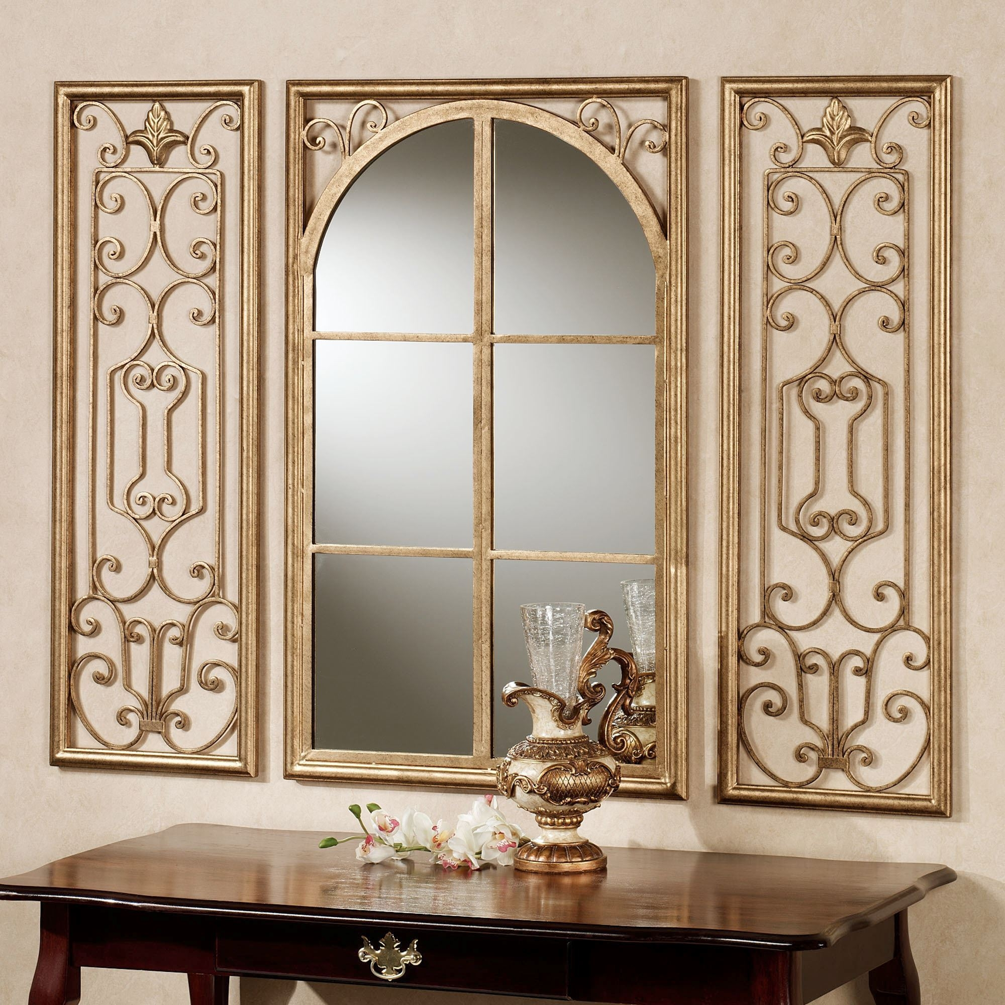 Provence Antique Gold Finish Wall Mirror Set