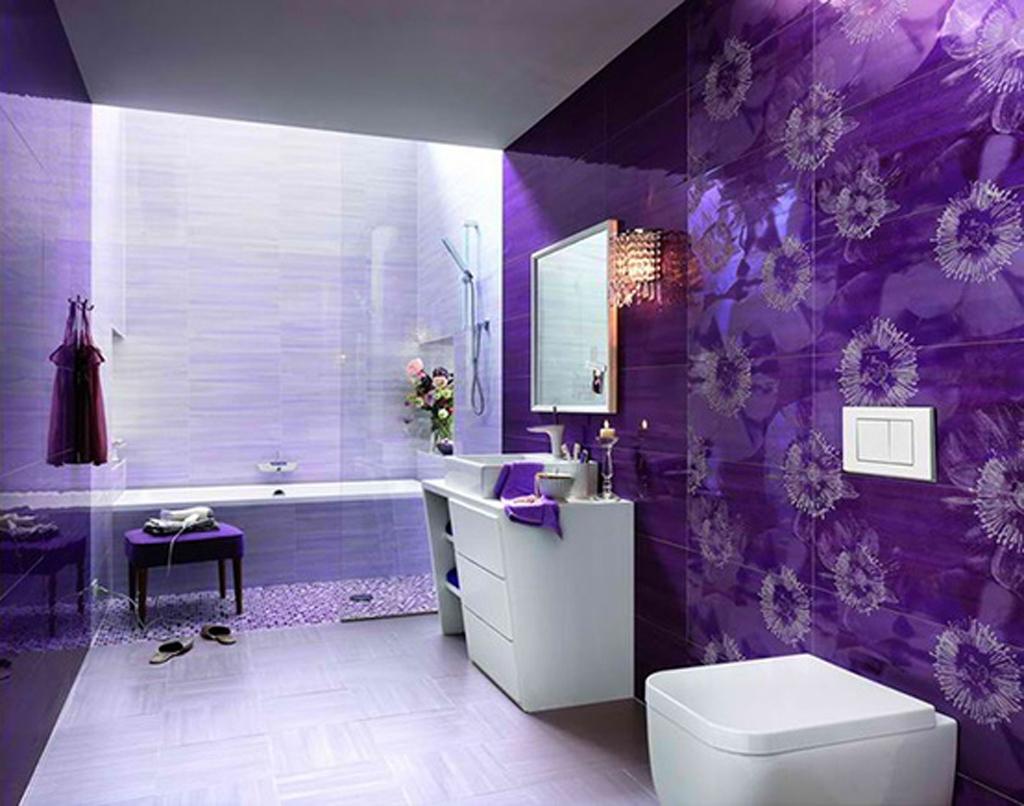 Purple Bathroom Wall Mirror