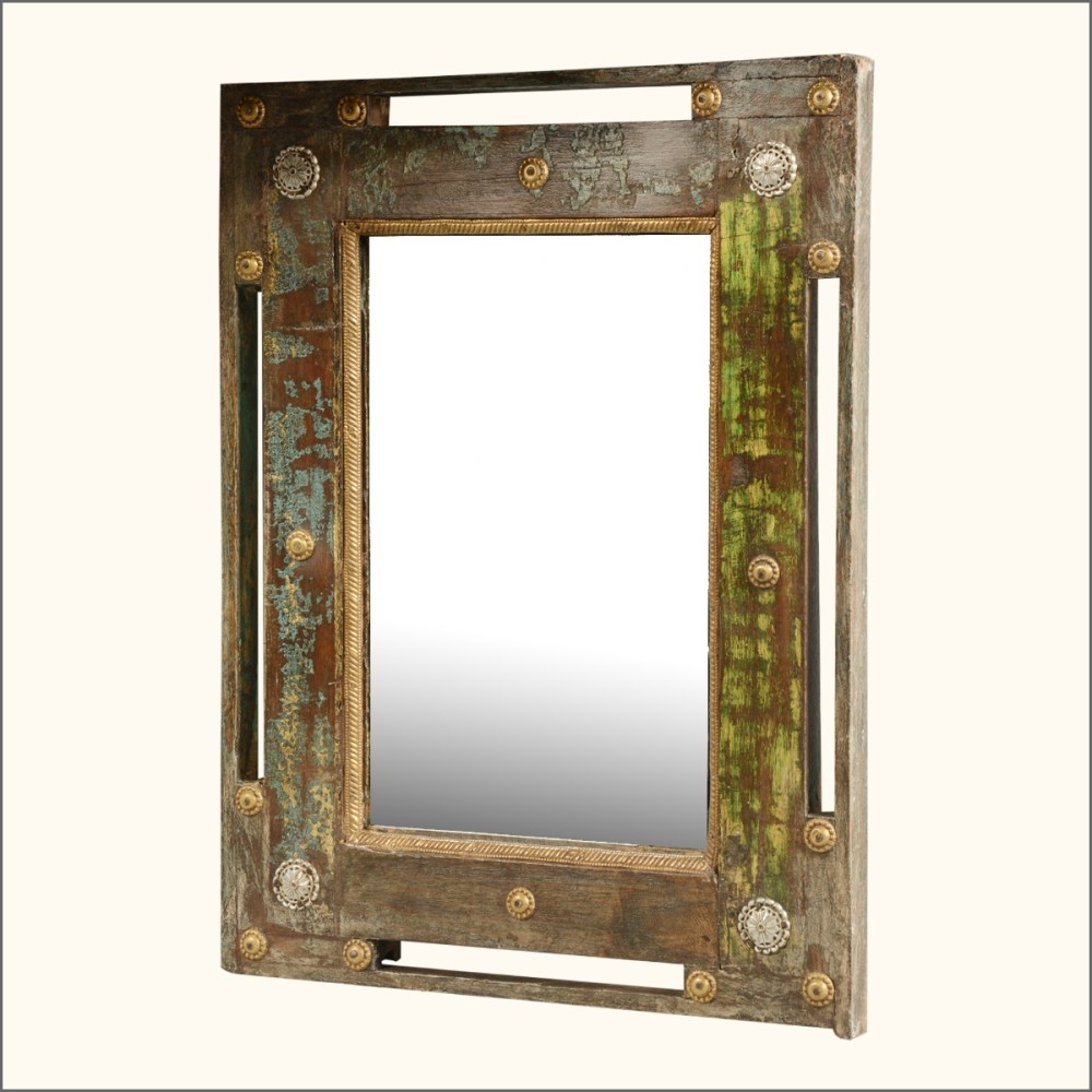 Reclaimed Wood Round Wall Mirror