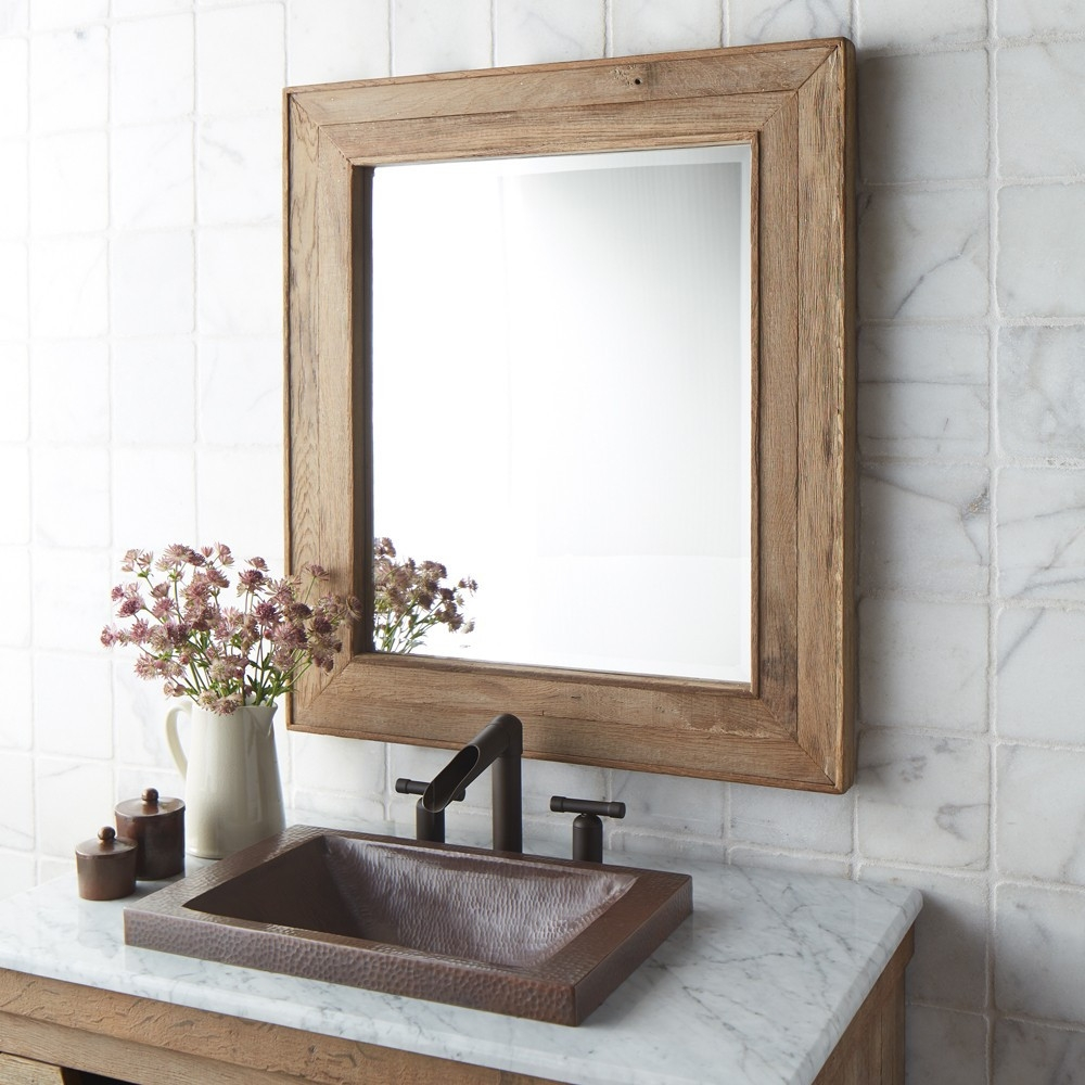 Rectangular Bathroom Mirror With Wooden Shelfluxury reclaimed wood bathroom mirrors native trails