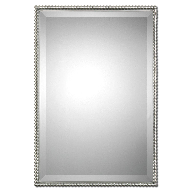 Rectangular Brushed Nickel Wall Mirror