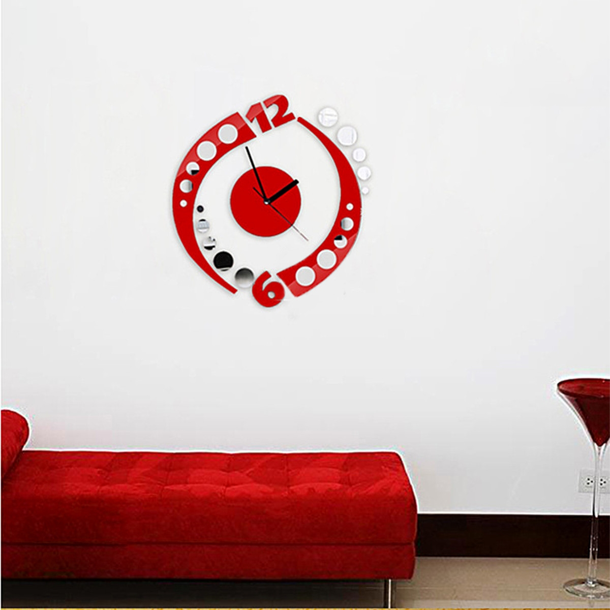 Red Mirrored Wall Clock