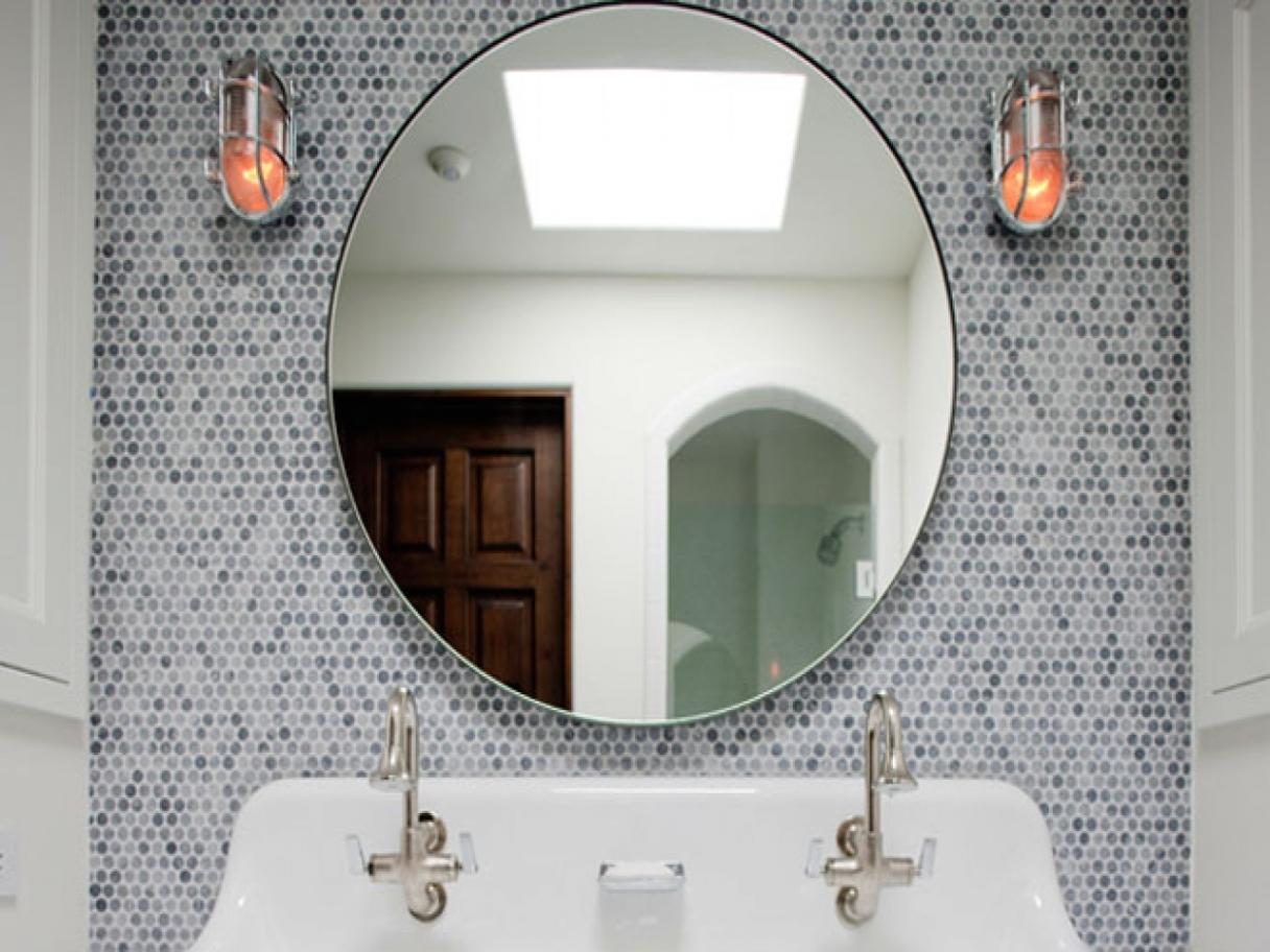 Red Round Bathroom Mirror