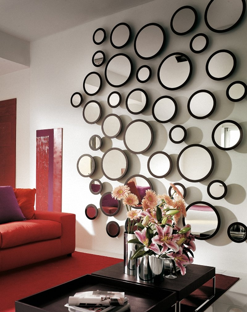 Red Wall Mirrors Decorative