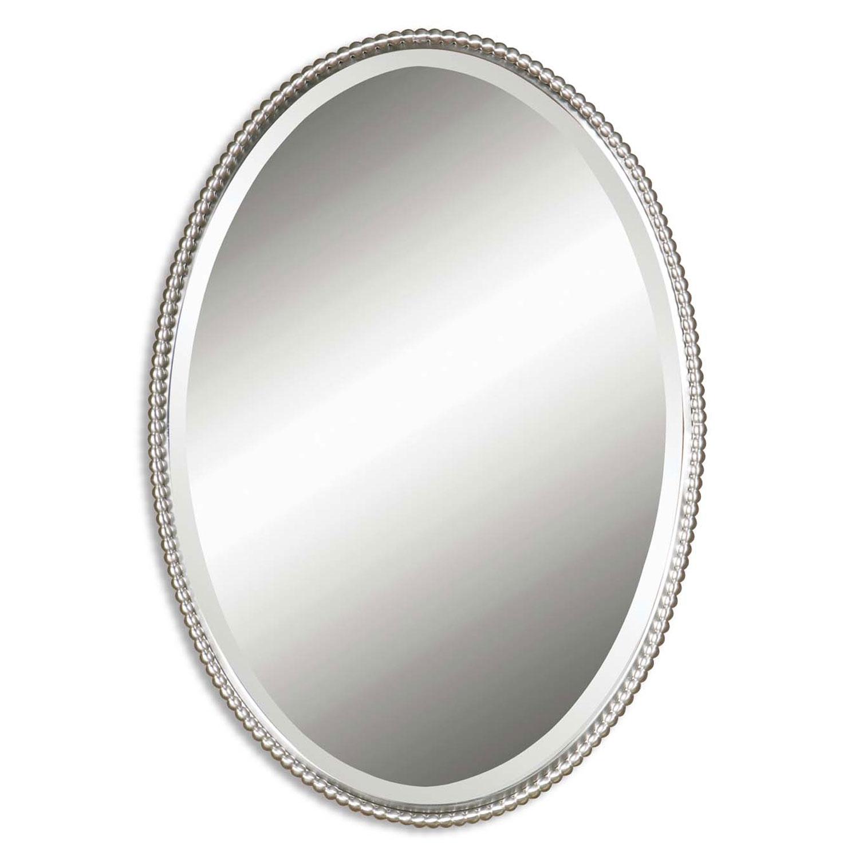 Round Brushed Nickel Wall Mirror