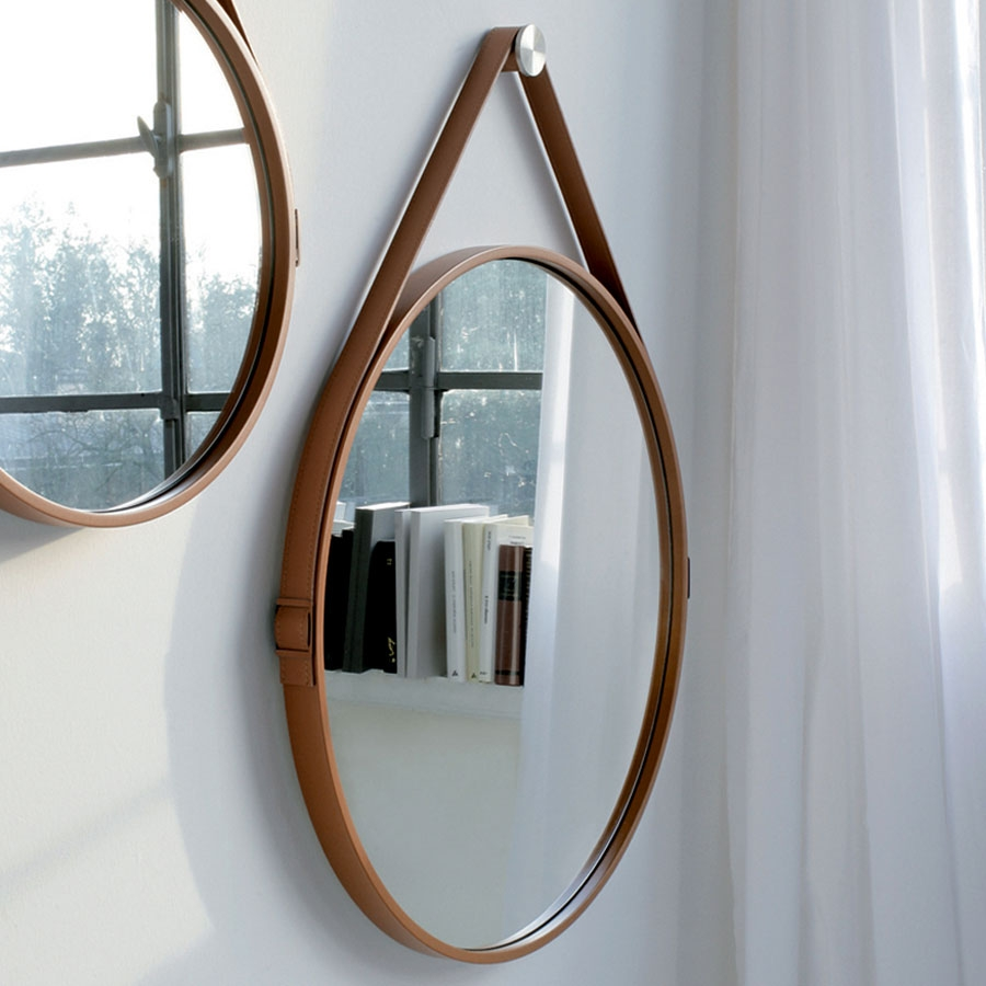 Round Leather Mirror Wall