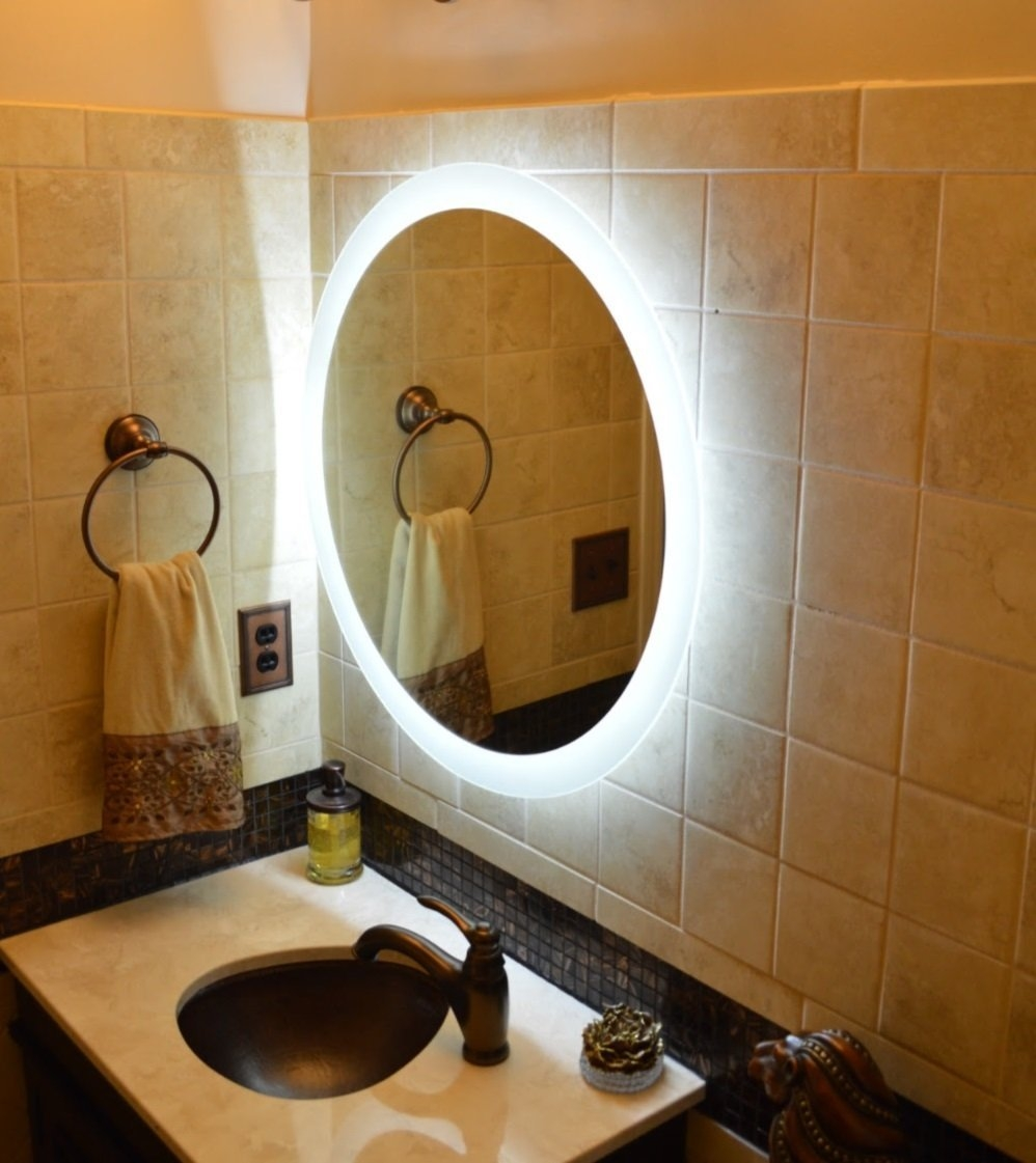 Round Lighted Bathroom Wall Mirror