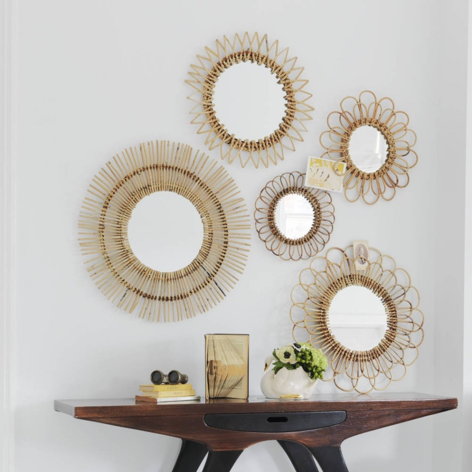Round Rattan Wall Mirror Round Rattan Wall Mirror project ideas set of mirrors for wall plain home wall art shelves 950 X 950